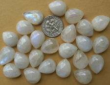 2 Rainbow moonstone cabochons 12x15mm teardrop chatoyant 20 carats in a set of 2