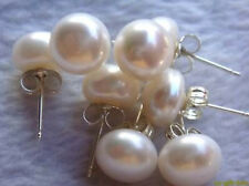 4 sets 8-8.5mm weiße flache Perle Ohrringe