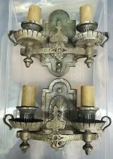 Pair Vintage Antique Hammered Iron Wall Sconces Light Fixtures