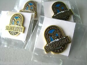 Lot of 4 NRA National Championship Silhouette Pin Shooting Lapel Hat Brown