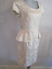 Clues Collection Champagne / Ivory Brocade Contour w/ Flare Fully Lined Dress  8