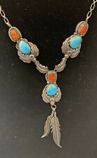 Vintage Native American Turquoise Coral Sterling Silver Leaf Necklace