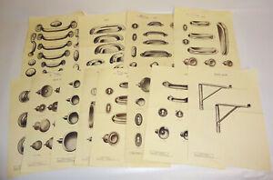 Konvolut Blätter aus Musterbuch Beschläge Schubladengriffe Möbelbeschläge (D