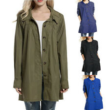 Plus Size Womens Slim Button Hood Loose Lightweight Outdoor Coat Raincoat Jacket