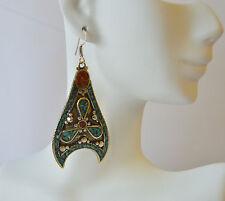 Turquoise & Coral Earrings Vintage Tibetan Silver Bohemian Handmade Beautiful