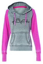 Paw Print Heartbeat Pet Rescue Ladies Contrast Fleece Hoody