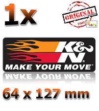 Original k&n Motorsport Make your Move 64x127mm Pegatina Sticker autocollant kN
