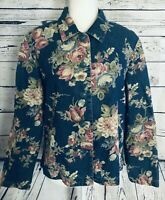 Coldwater Creek Women's Size 12 Jacket Floral Button Down Soft Shell Long Sleeve