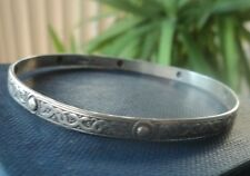 Attractive Sterling Silver Scottish Celtic Iona Style Bangle / Bracelet h/m 1977