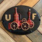 "Vintage 11"" Cast Iron UF United Union Firefighter Mark Insurance Plaque Sign"