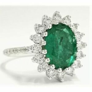 2.23 CT 14K White Gold Green Natural Beryl Diamond Emerald Engagement Ring