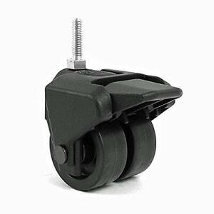 "3"" Tall Dual Wheel Composite Plastic Caster w Brake, 5/16"" Threaded Stem, Setof4"