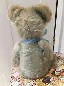 Antique Teddy 1940s BLUE. 12 Inches.