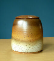 Studio Pottery Lidded Jar Hayes Ceramic Art Decor Vintage Earth Tones Vessel
