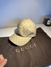 Gucci Beige Classic Vintage Nylon Web GG Supreme Monogram Baseball Cap Hat L