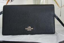 NWT Coach F30256 Foldover Clutch Crossbody In Pebble Leather Black $188