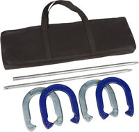 Professional Horseshoe Game Set Blue Silver Powder Coated Waterproof Steel