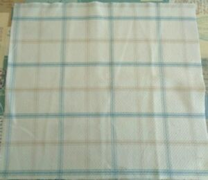 40cm square ISLES LEWIS WOOL TOUCH CHECK Cream Duck egg Blue Taupe Check FABRIC