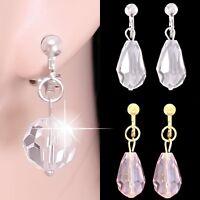 """#C03 NON-PIERCED CLIP ON Dangle 0.4"""" 3D Ball/Teardrop Crystal 1"""" Dangle Earrings"""