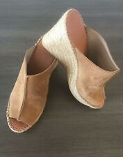 ANDRE ASSOUS Cici Suede Espadrille Wedge Sandals Brown Size 37