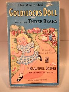 """Rare """"Animated"""" Goldilocks Paper Doll With the 3 Bears by Milton Bradley--Mint"""