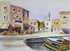 "Painter Suzanne Obrand, Holocaust Survivor, Watercolor Painting ""Italian Wharf"""""