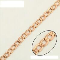 """9ct 9K Rose /""""Gold Filled/"""" Men Ladies Curb Link chain Bangle Bracelet.9.8/"""",1284"""