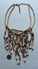 BEAUTIFUL CHICO'S CHICOS DOUBLE STRAND BEADED FRINGE NECKLACE PINK GOLD WHITE