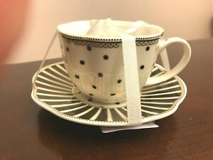Grace's Teaware Black White Polka Dot Tea Cup Saucer Set Josephine Stripe-New