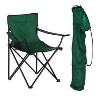 2x Folding Canvas Camping Chair Portable Fishing Beach Garden Chairs - Green