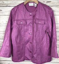 Alfred Dunner 12 Pink Crinkle Textured Blazer Coat Jacket c3