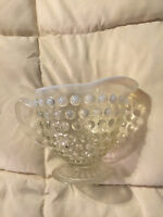VINTAGE WHITE OPALESCENT CLEAR HOBNAIL GLASS SMALL PEDESTAL CREAMER CUP PITCHER!
