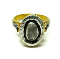 Vintage Natural Polki Pave Diamond 925 Sterling Silver Ring Handmade Jewelry
