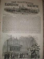 Apertura dell'esposizione industriale DUBLINO IRLANDA 1853 old print REF T