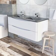 Cube 1200mm Wall Mounted Vanity Unit White Gloss & Dark Grey Glass Double Basin