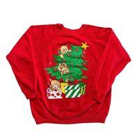 Vintage Christmas Cats Red Sweatshirt Festive Crewneck Pullover Adult Large