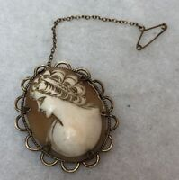 Antique Cameo Rolled Gold Shell Safety Chain 1890s Victorian Jewellery Jewelry