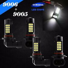 Combo 9006-HB4 9005-HB3 Samsung Chip LED 42 SMD White Headlight Bulbs Hi/Lo Beam