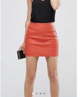 ASOS Orange PU leather Skirt Size 14