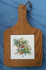 Hand Crafted Solid Oak Kitchen Trivet w/decorative Vegetables ceramic tile