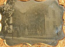 ¼ Plate Outdoor Ambrotype of Two Story Home w/ Family & Child on Horseback 1860s