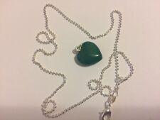 Natural Quartz Crystal Semiprecious Stone HEART Pendant + chain Dark Green