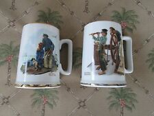 2x=Norman Rockwell Coffee/Tea/Milk Mugs {River Pilot&Looking Out To Sea] >Nice