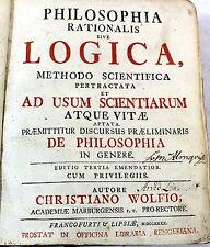 Philosophia Rationalis sive Logica CHRISTIAN WOLF 1740 VELLUM Philosophy
