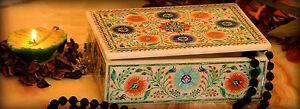 """6""""x4""""x2"""" White Marble Vintage Box Fine Multi Stone Floral Inlay Home Deco H2191"""