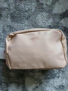 CALVIN KLEIN Medium Travel Size Bag Black Leather Organizer Cosmetic Pouch