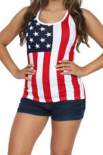 WOMEN'S JUNIORS SEXY USA FLAG RACERBACK TANK TOP AMERICAN PATRIOT SLEEVELESS TEE