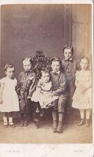 ANTIQUE CDV PHOTO - GROUP OF 6 CHILDREN,  MUNRO,  FROME STUDIO