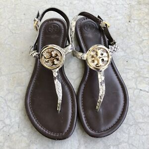 Tory Burch Women's Flat Sandals Dani T-Strap Thongs Shoes Snakeskin Leather 6.5