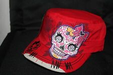 Rhinestone Distressed Caps - Cute Sugarskull - Red-cb7264